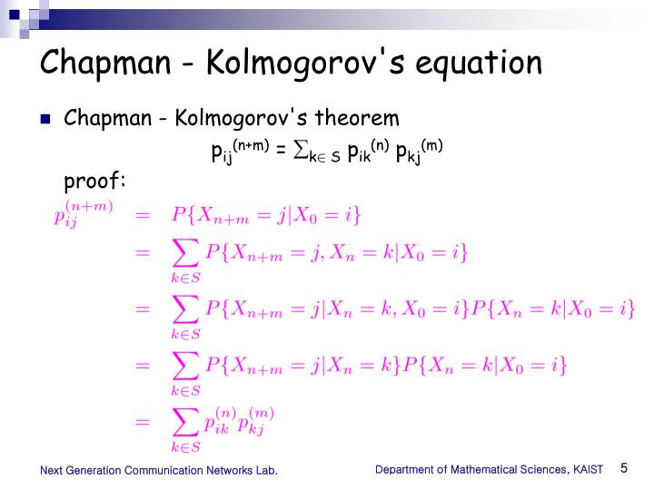 Chapman - Kolmogorov's equation