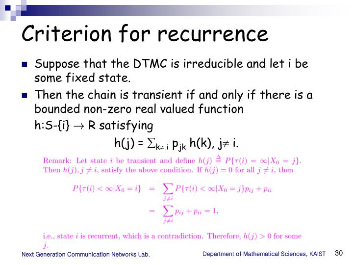 Criterion for recurrence