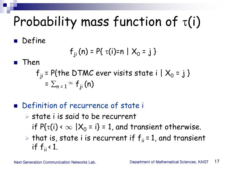 Probability mass function of