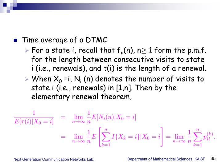 Time average of a DTMC