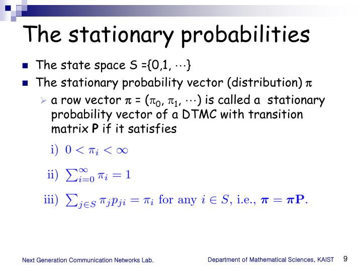 The stationary probabilities