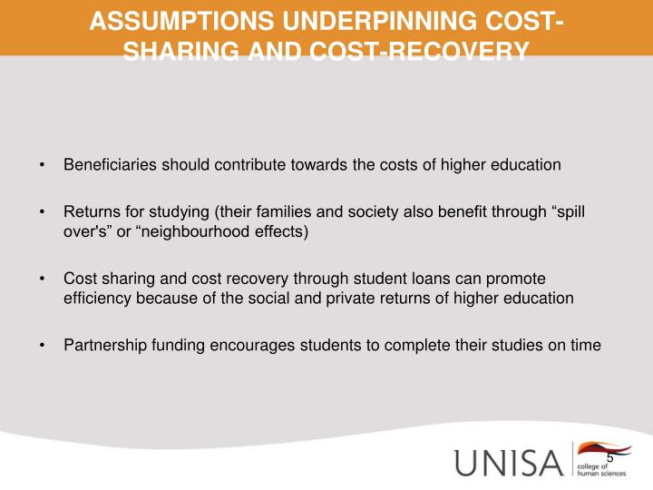 ASSUMPTIONS UNDERPINNING COST-SHARING AND COST-RECOVERY