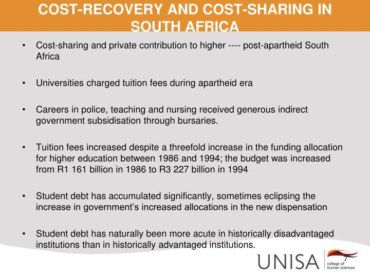 COST-RECOVERY AND COST-SHARING IN SOUTH AFRICA