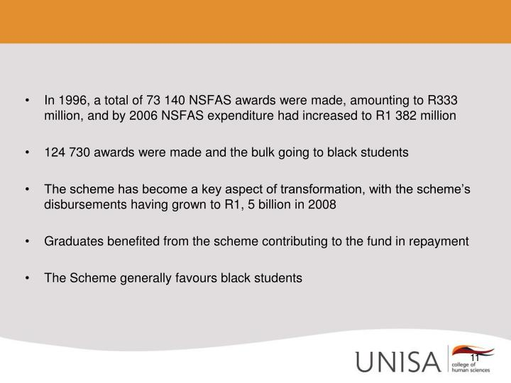In 1996, a total of 73 140 NSFAS awards were made, amounting to R333 million, and by 2006 NSFAS expenditure had increased to R1 382 million
