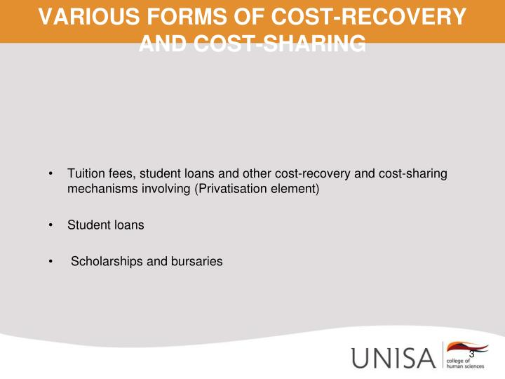 Various forms of cost recovery and cost sharing