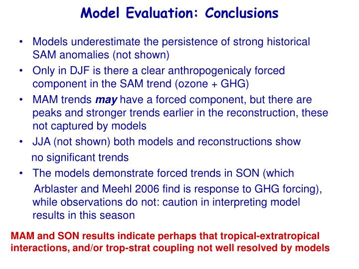 Model Evaluation: Conclusions