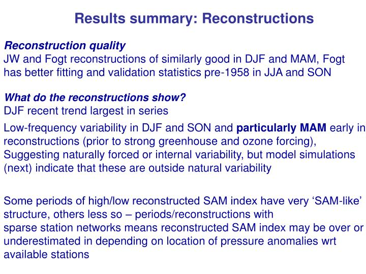 Results summary: Reconstructions