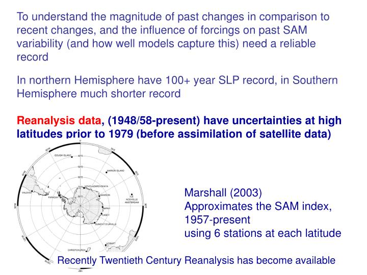 To understand the magnitude of past changes in comparison to recent changes, and the influence of forcings on past SAM