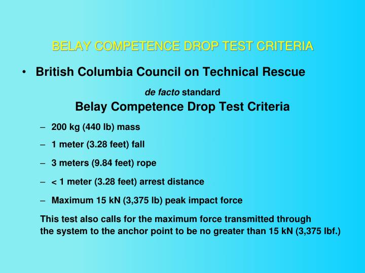 BELAY COMPETENCE DROP TEST CRITERIA