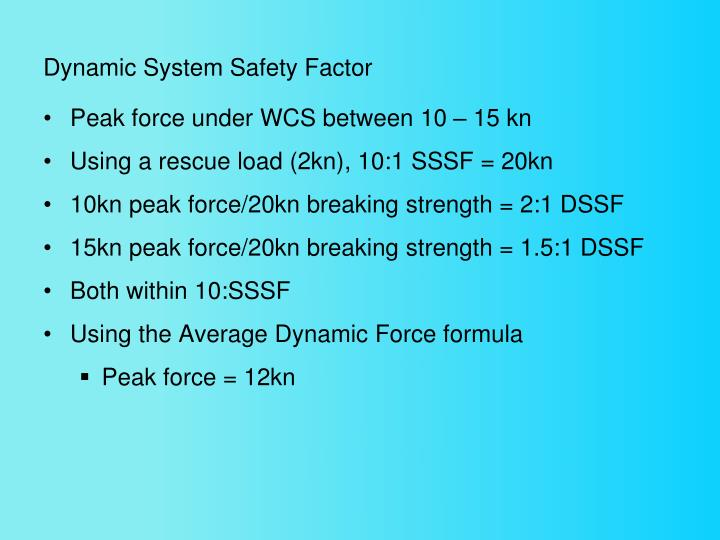 Dynamic System Safety Factor