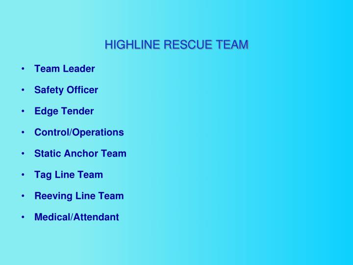HIGHLINE RESCUE TEAM