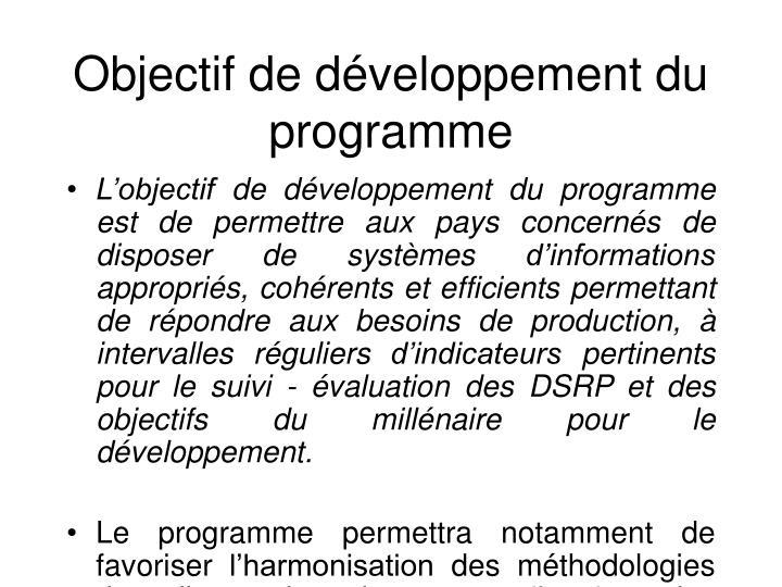 Objectifde développement du programme