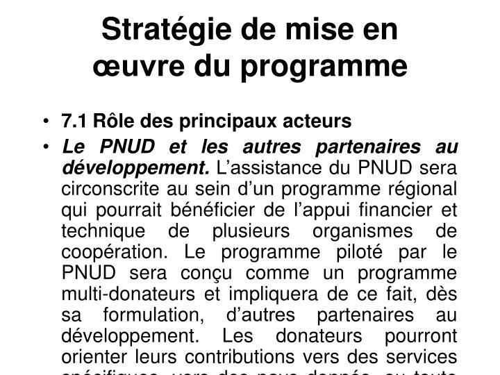 Stratégie de mise en œuvredu programme