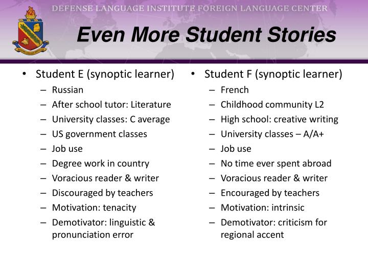 Even More Student Stories