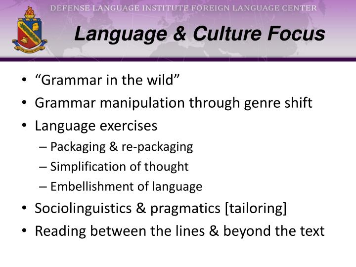 Language & Culture Focus
