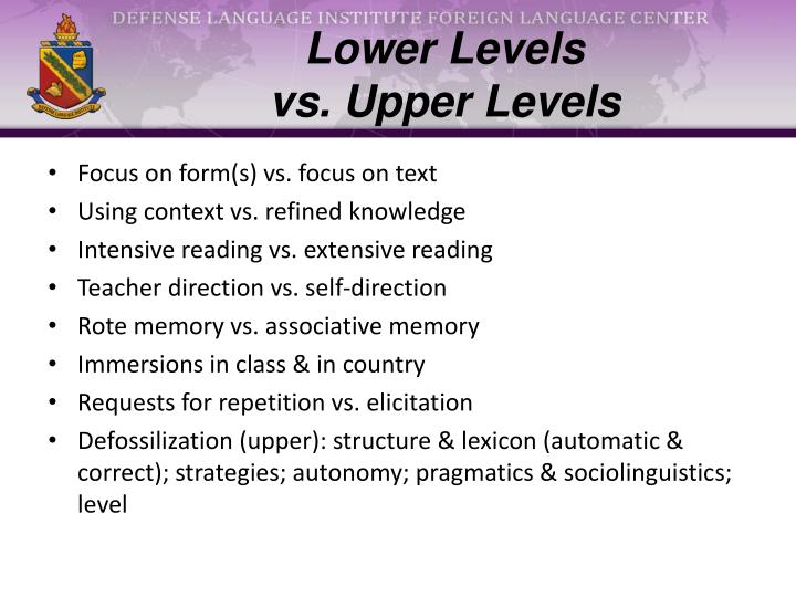 Lower Levels