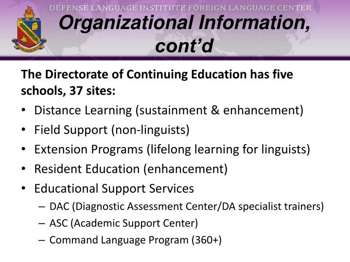 Organizational information cont d