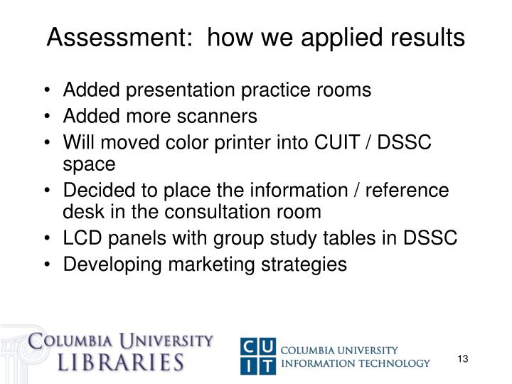 Assessment:  how we applied results