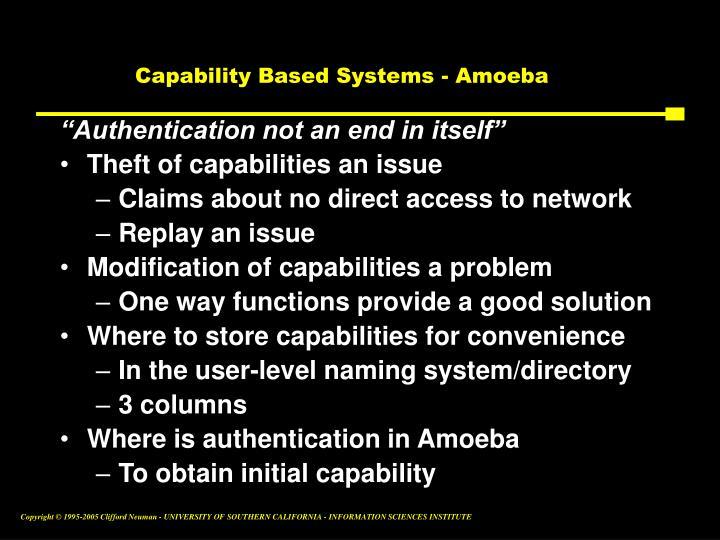 Capability Based Systems - Amoeba