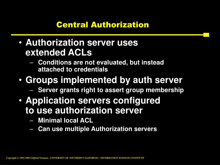 Central Authorization
