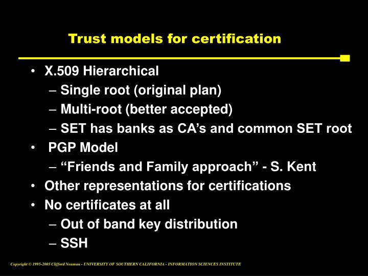 Trust models for certification