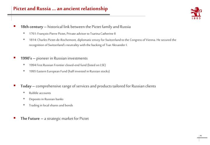 Pictet and Russia … an ancient relationship