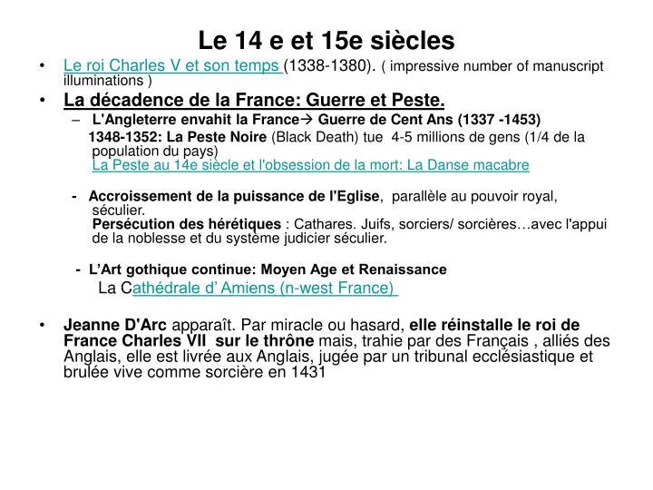 Le 14 e et 15e siècles