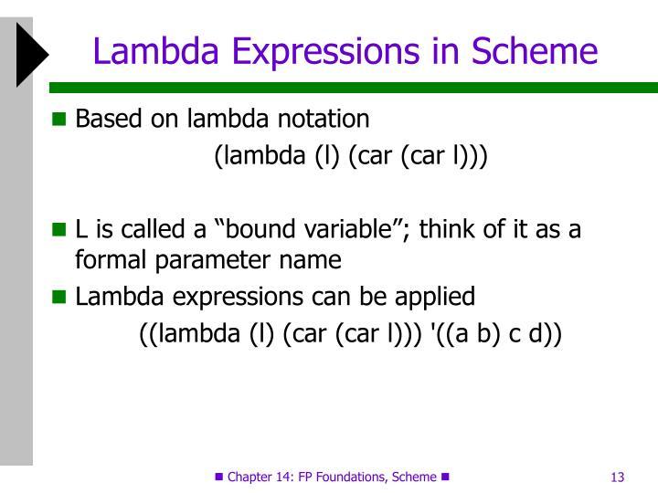 Lambda Expressions in Scheme