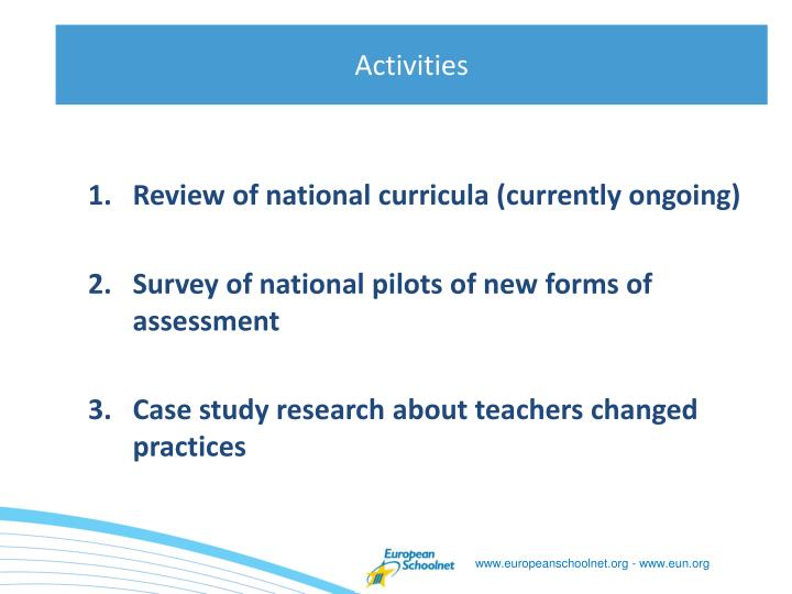 Review of national curricula (currently ongoing)