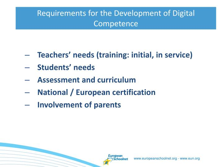 Requirements for the development of digital competence