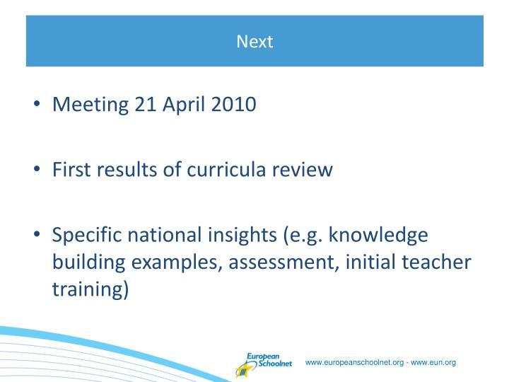 Meeting 21 April 2010