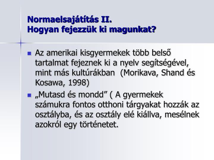 Normaelsajátítás II.