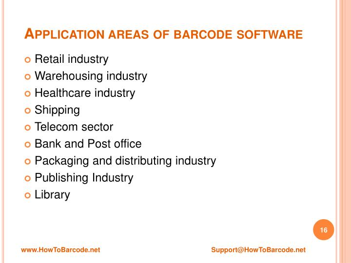 Application areas of barcode software