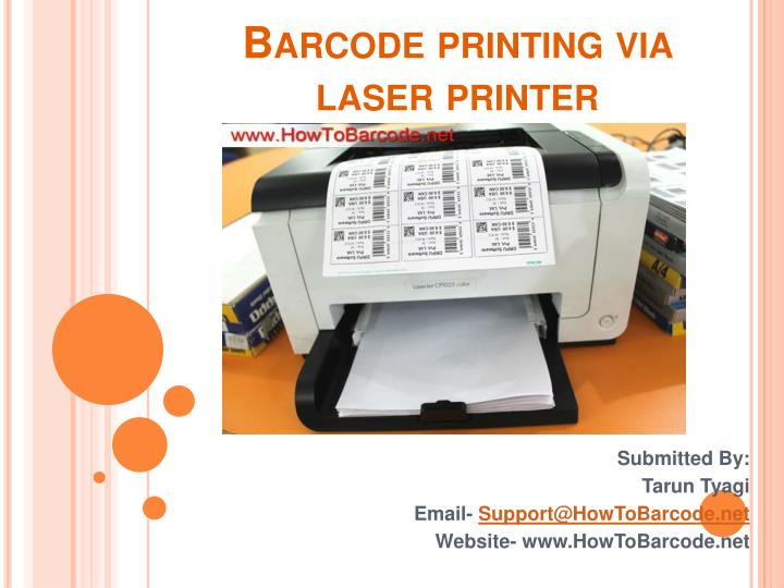 Barcode printing via laser printer