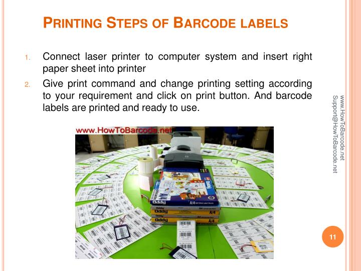 Printing Steps of Barcode labels