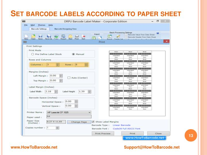 Set barcode labels according to paper sheet