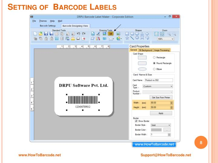 Setting of  Barcode Labels
