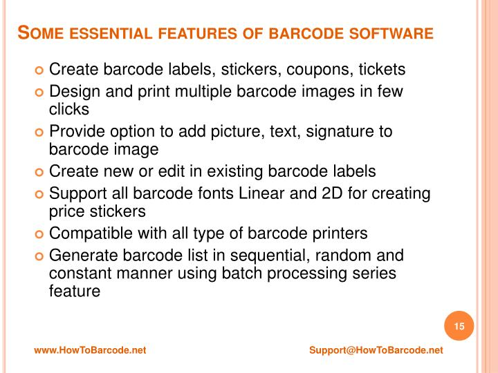 Some essential features of barcode software