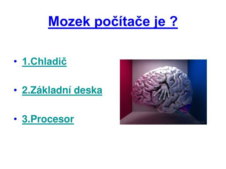 Mozek počítače je ?