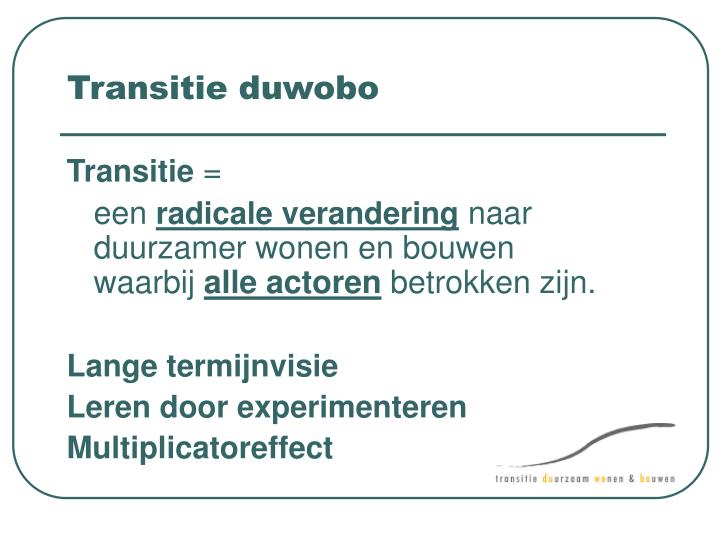 Transitie duwobo