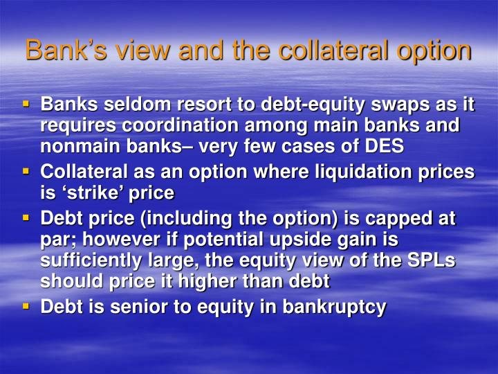Bank's view and the collateral option