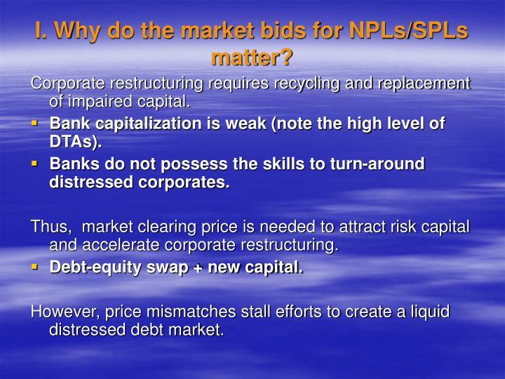 I. Why do the market bids for NPLs/SPLs matter?
