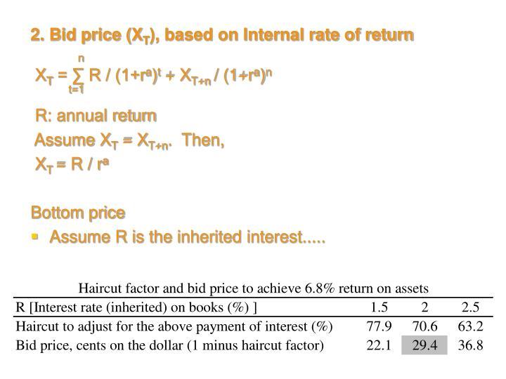 2. Bid price (X