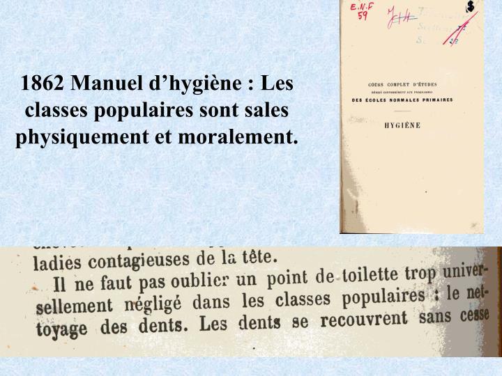 1862 Manuel dhygine : Les classes populaires sont sales physiquement et moralement.