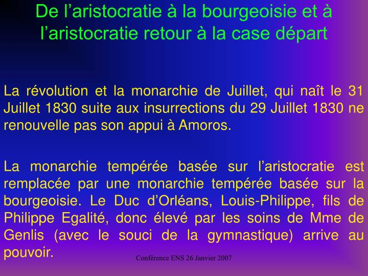 De laristocratie  la bourgeoisie et  laristocratie retour  la case dpart