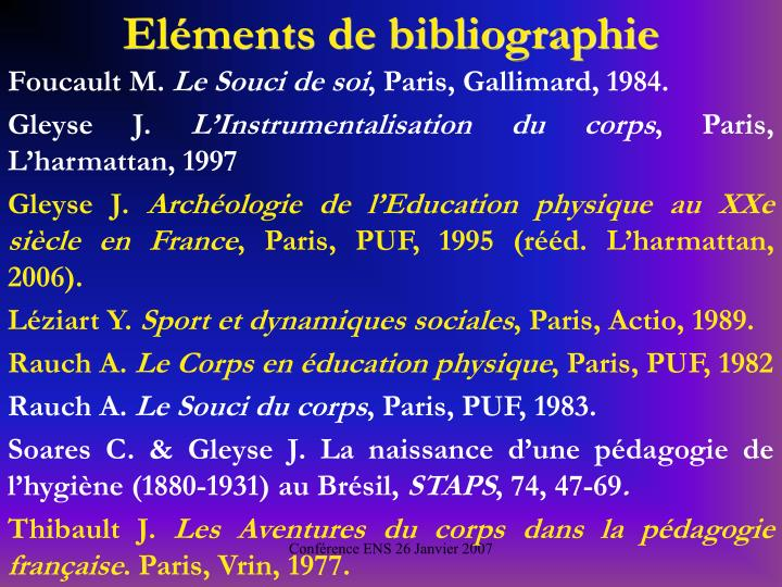 Elments de bibliographie