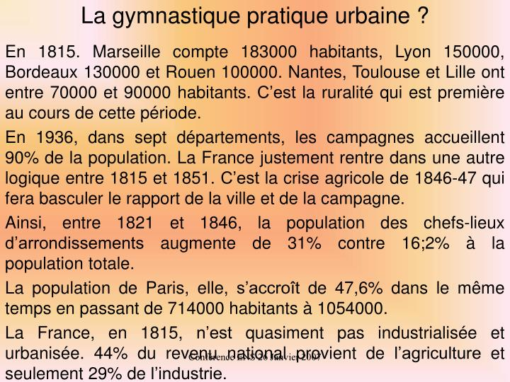 La gymnastique pratique urbaine ?