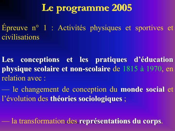 Le programme 2005