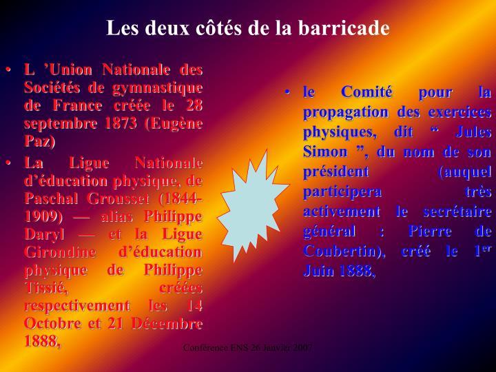 L'Union Nationale des Sociétés de gymnastique de France créée le 28 septembre 1873 (Eugène Paz)
