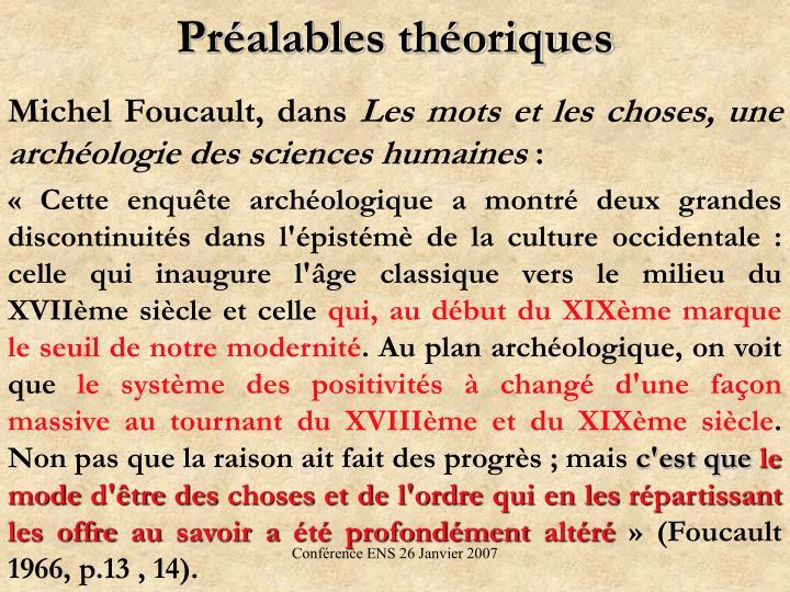 Préalables théoriques